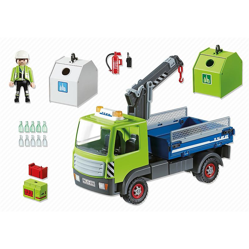 camion avec grue et conteneurs verre playmobil 6109 35 99. Black Bedroom Furniture Sets. Home Design Ideas