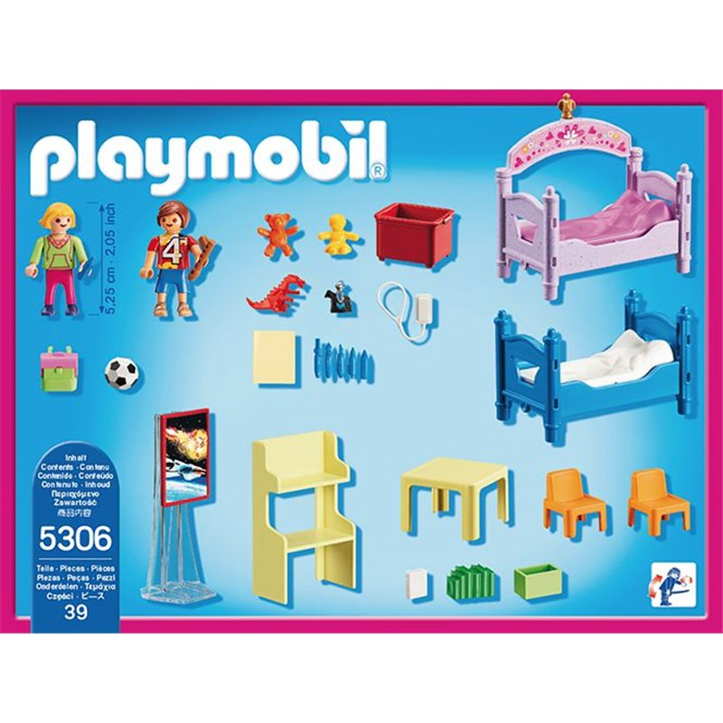 chambre d 39 enfants avec lits superpos s playmobil 5306. Black Bedroom Furniture Sets. Home Design Ideas