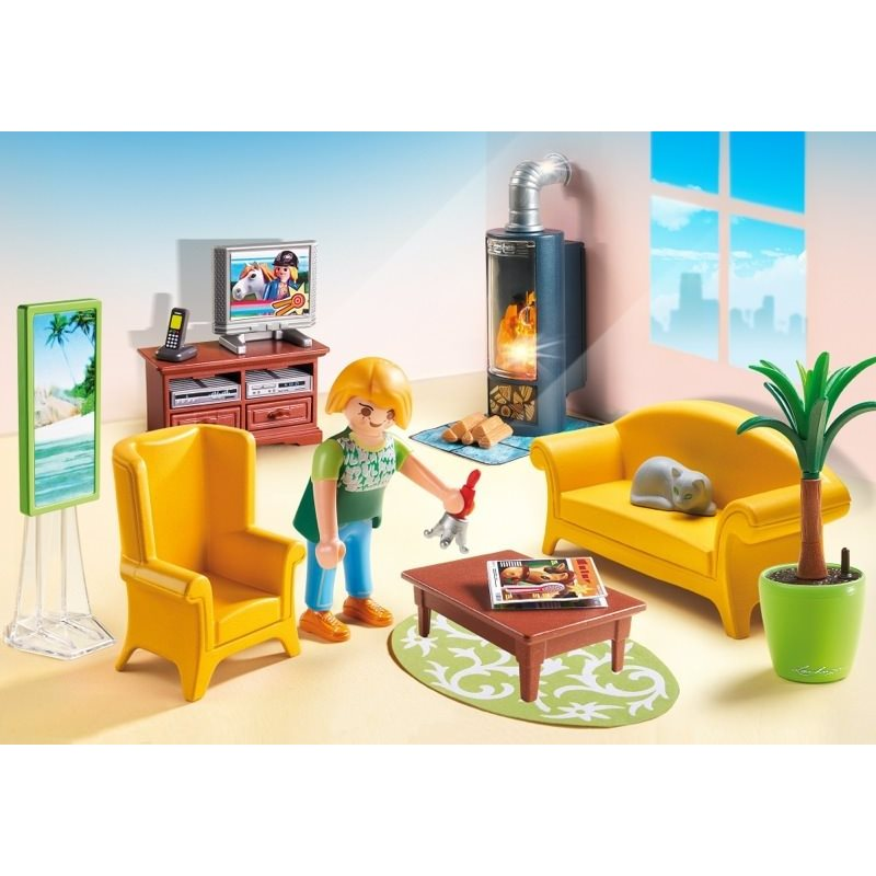 salon avec po le bois playmobil 5308 14 99 sur. Black Bedroom Furniture Sets. Home Design Ideas