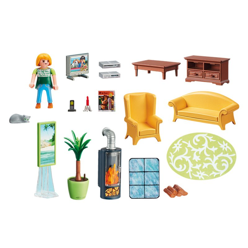 salon avec po le bois playmobil 5308 14 99 sur pogioshop. Black Bedroom Furniture Sets. Home Design Ideas