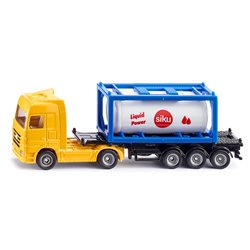 Truck with tank container
