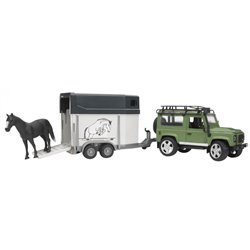 LAND ROVER Defender 90 Break avec van et un cheval - Bruder 02592